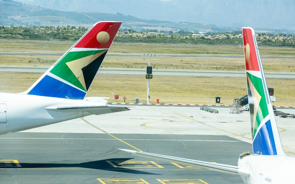 A view of SAA airplanes at Cape Town International Airport on February 18, 2020.