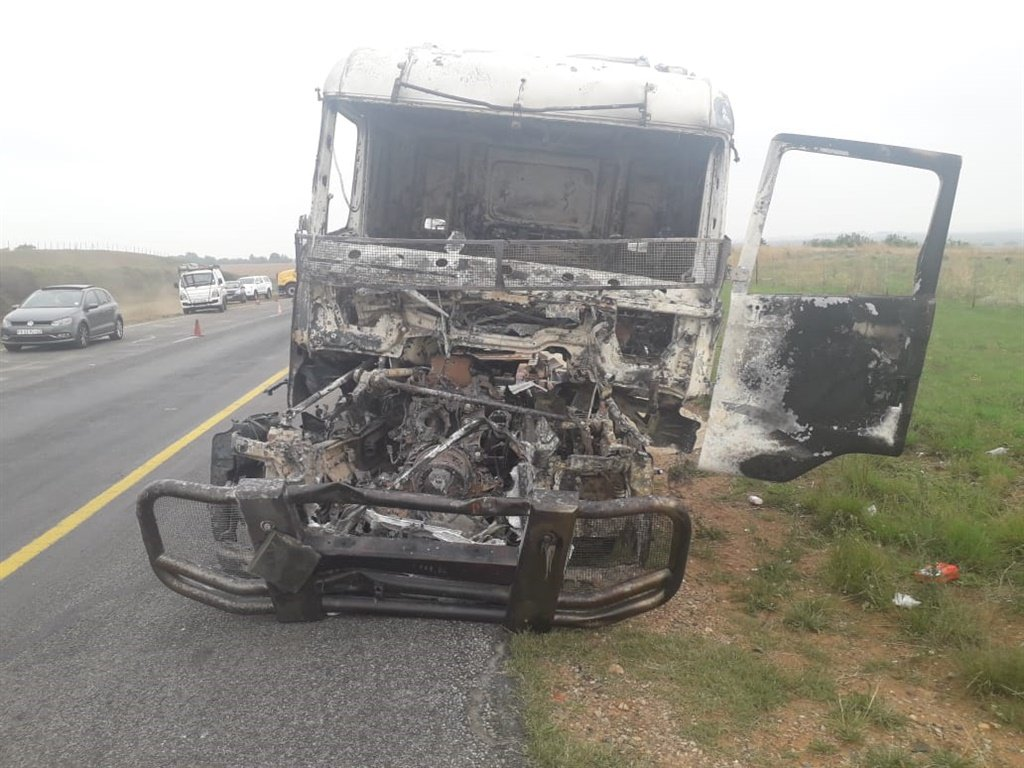 Remnants of a burnt truck along the N3   freeway near Heidelberg