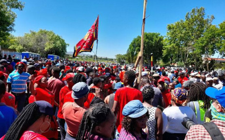 EFF members gather at Brackenfell High School ahead of their anti-racism demonstration on 20 November 2020. Picture: Zukile Daniel/EWN