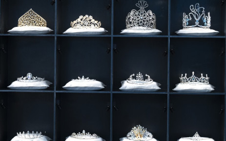 Tiaras made of crystals are displayed at the Swarovski Crystal Worlds (Kristallwelten) museum, near the plant of Austrian crystal glass manufacturer Swarovski in Wattens, Austria, on October 27, 2020. Crystal-studded clouds reflecting over a pond, an oversized crystal chandelier, entirely encapusalted by mirrors: The headquarters of Swarovski are a world of glitz. Recently, however, few have seen it sparkle. Picture: AFP